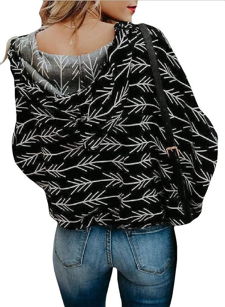 Hajotrawa Women V Neck Sport Drawstring Floral Print Pullover Hooded Sweatshirts