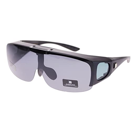 28cf4df161 Barricade Large Mens Polarized Flip Up Fitover Sunglasses All Black