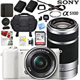 Sony a5100 Alpha Mirrorless Digital Camera with 16-50mm & 55-210mm Lens (White) ILCE-5100L/W Extra Battery Case Memory Card Deluxe Pro Bundle