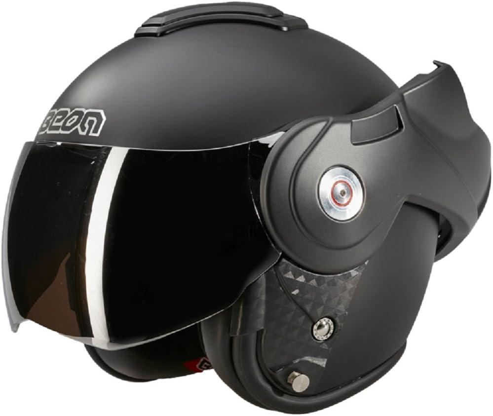 BEON B702 Casque de moto avec visi/ère sombre Noir mat