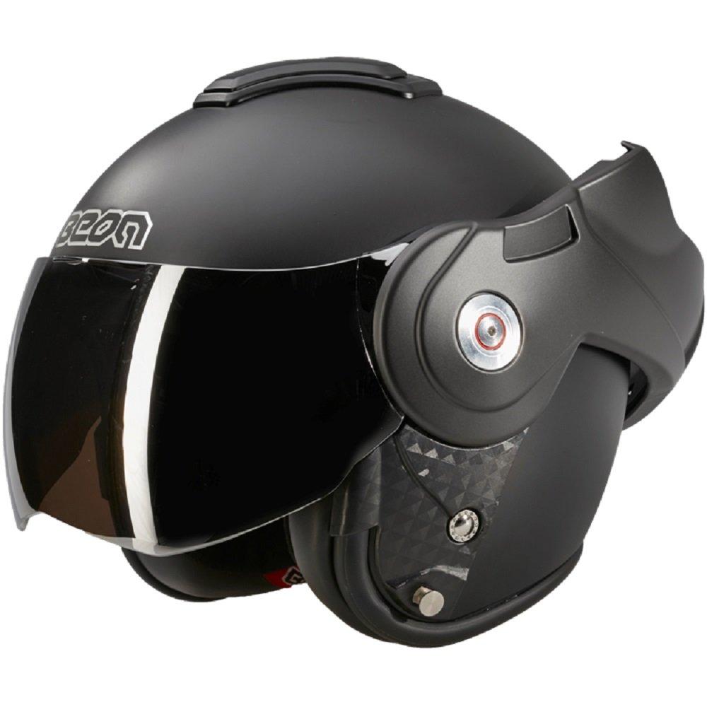 Beon - Casco da moto B702 Reverse, con mentoniera apribile, nero opaco - M 7106623985489
