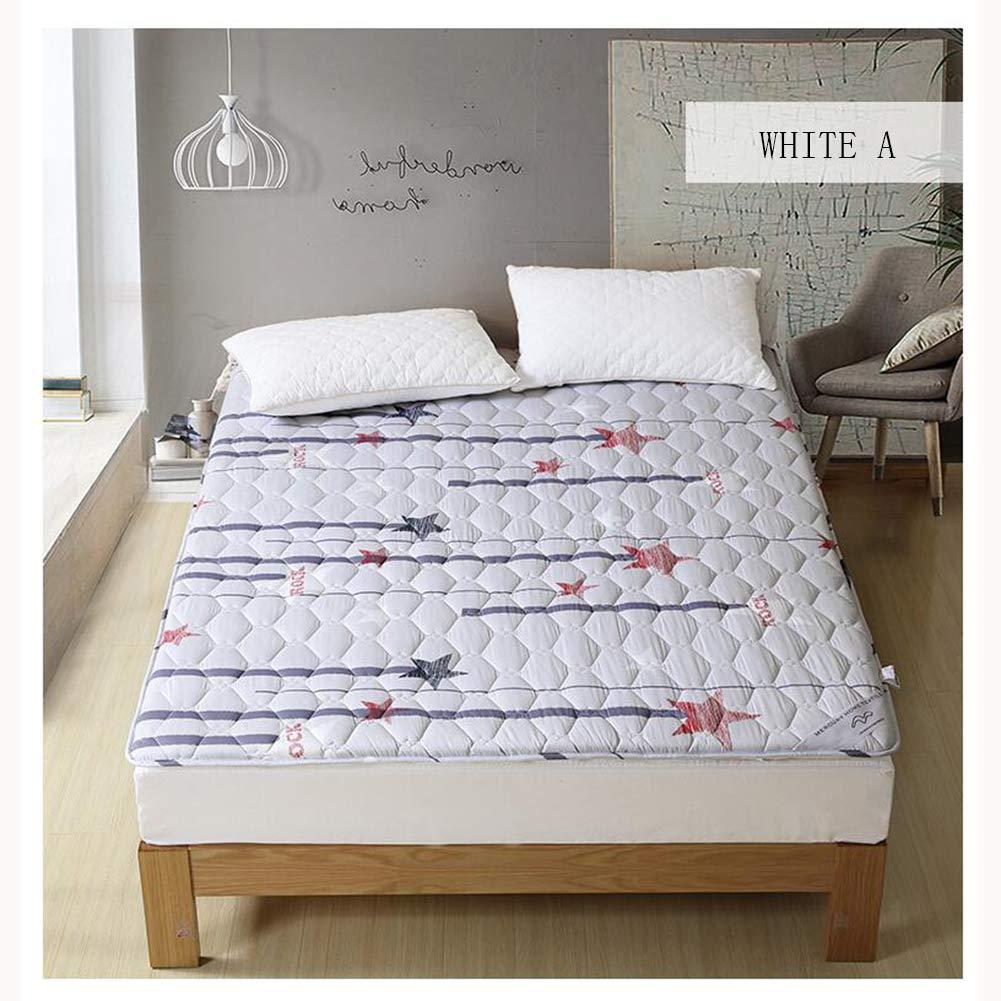 Love Home 100% Cutton-Matratze, mittelfest, atmungsaktiv, rutschfest, für Studenten, Einzelbett, Doppelmatratze, Schlafmatratze, Tatami-Schlafmatte, Schaumstoff, Weiß A, 120x195cm(47x77inch)