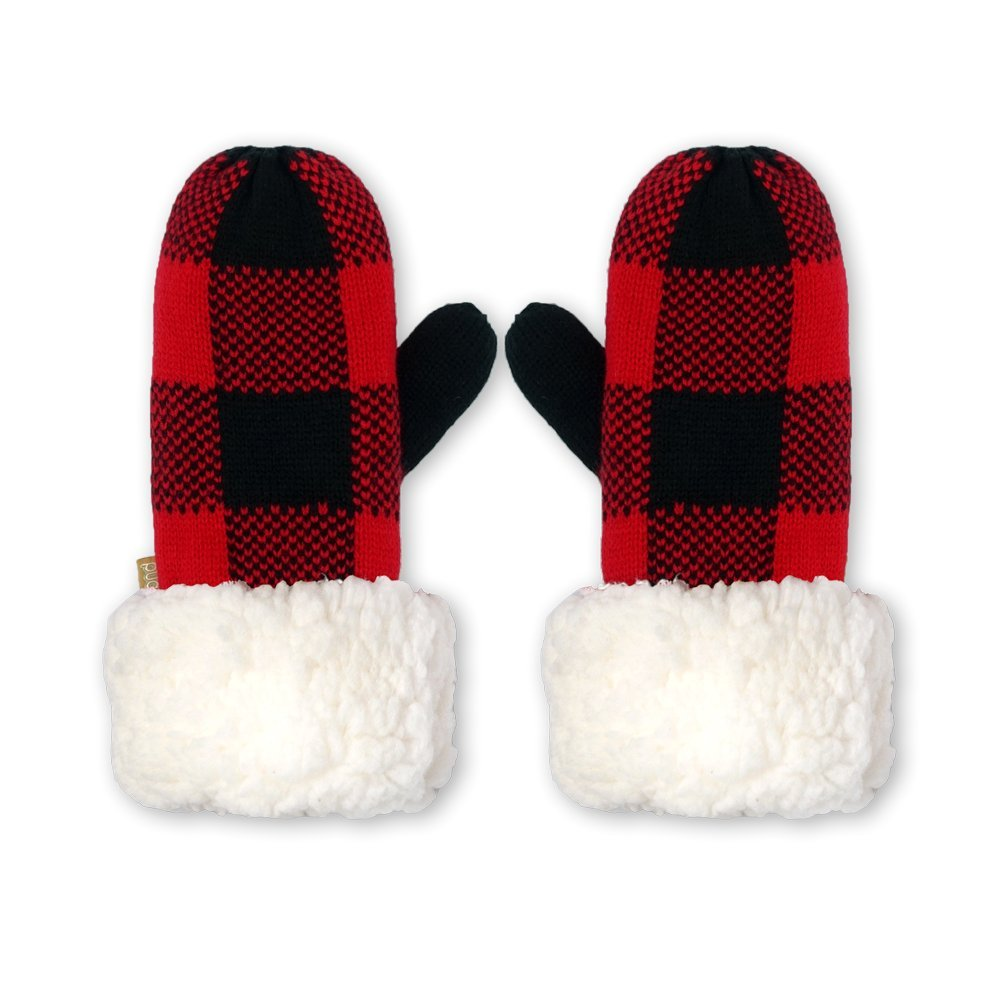 Pudus lumberjack red adult one size cozy winter mittens by Pudus
