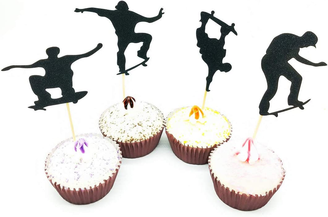 Paity 24Pieces Extreme Skateboard Skateboarding Silhouette Party Figure Skating Silhouette Cupcake Toppers sports food Picks bridal shower Bachelorette Party wedding birthday toothpicks decor
