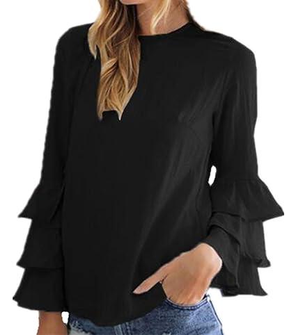 AILIENT Mujeres Camisetas De Manga De Cuello Redondo Sexi Slim T Shirt Blusas Camisas Sweatshirt Tops Irregular Maglia Volantes: Amazon.es: Ropa y ...
