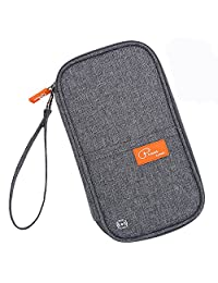 Feeker Travel Passport Wallet Credit Card Holder Journey Case RFID Blocking Mulit-purpose Travel Organizer Document Ticket Bag (Gray)