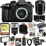Panasonic Lumix DC-GH5S Wi-Fi C4K Digital Camera Body with 12-60mm f/2.8-4 Lens + 128GB Card + Battery + Backpack + Flash + LED Light + Microphone Kit
