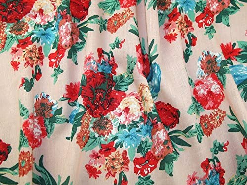 FREE POST 100/% Cotton Pink /& Peach flower fabric Blue per Metre