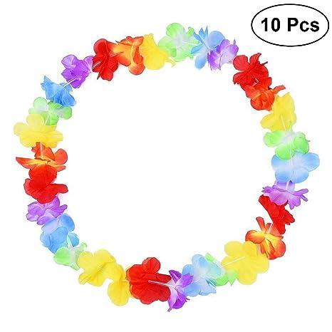 lussureggiante nel design Miglior prezzo vero affare LUOEM 10pcs collana di leoni hawaiana ghirlanda di fiori ...