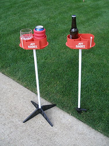 JDT Kaddy Elevated Drink Holders (Set of Two) - Comes with both ground stakes and hard surface stands. Great for outdoor games. ()