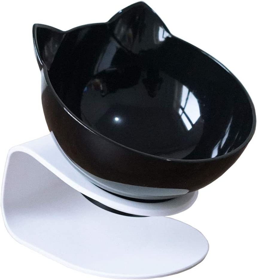 Cat Elevated Bowl with Raised Stand, 15 Degree Tilted Design Neck Guard Stand Raised Pet Food Water Feeder Bowl for Cats or Small Dogs