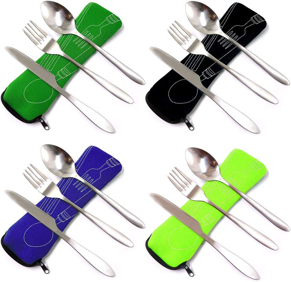 4 Sets Portable Cutlery Utensils Flatware Sets for Camping Outdoor Travel Hiking Work Lunch Premium Stainless Steel Portable Cutlery Set
