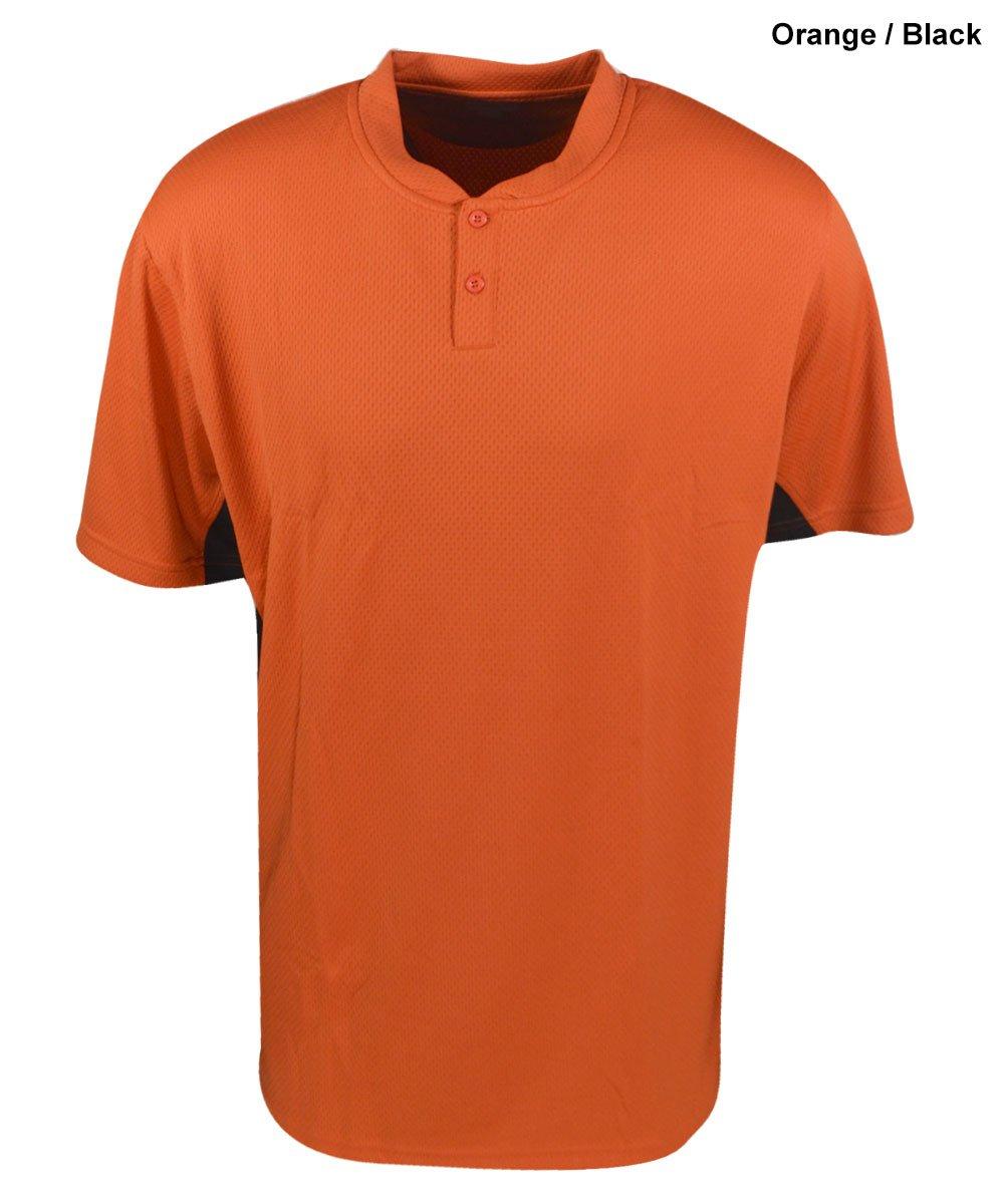 Mizunoメンズ2ボタンカラーブロック半袖野球ジャージー B005EZ1K5A Large|Orange|Black Orange|Black Large