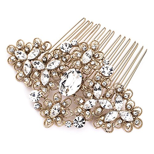 USABride Vintage Gold Tone Wedding Comb Filigree Bridal Hair Accessory 2241-G