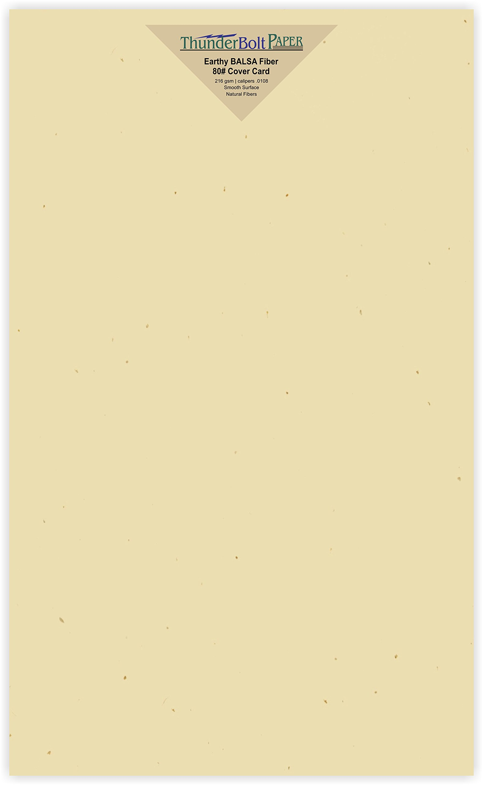 150 Earthy Balsa Fiber Cover Sheets - 80# (80 lb/pound) Card Weight - 8.5'' X 14'' (8.5X14 Inches) Legal|Menu Size - Fine Paper in Creamy Tan|Beige Color for Quality Results by ThunderBolt Paper