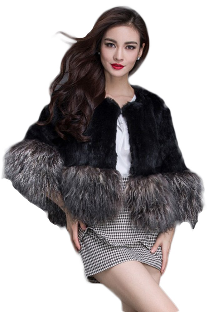 Queenshiny New style Women's 100% Real Rabbit and Wool Fur Short Jacket-Black-XS(0-2)