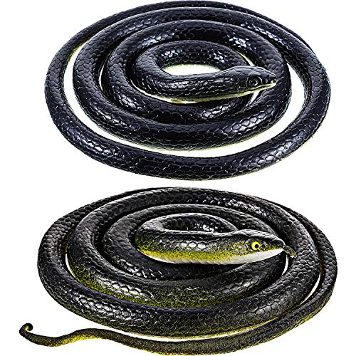 (2 Pieces Large Rubber Snakes in 2 Sizes 51 Inches and 47 Inches, Fake Snake Black Mamba Snake Toys, Halloween Decoration (2 Pieces, 51 Inch, 47)