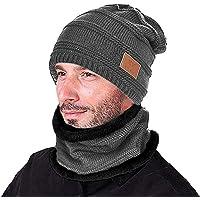 Opard Wintermütze Warm Strickmütze und Schal mit Fleecefutter One Size Unisex Herbst Winter-Mütze