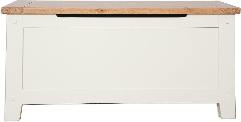 Hobart Ivory Rustic Oak Top Blanket Box Bedroom Furniture Solid Oak Top Ottoman Chest