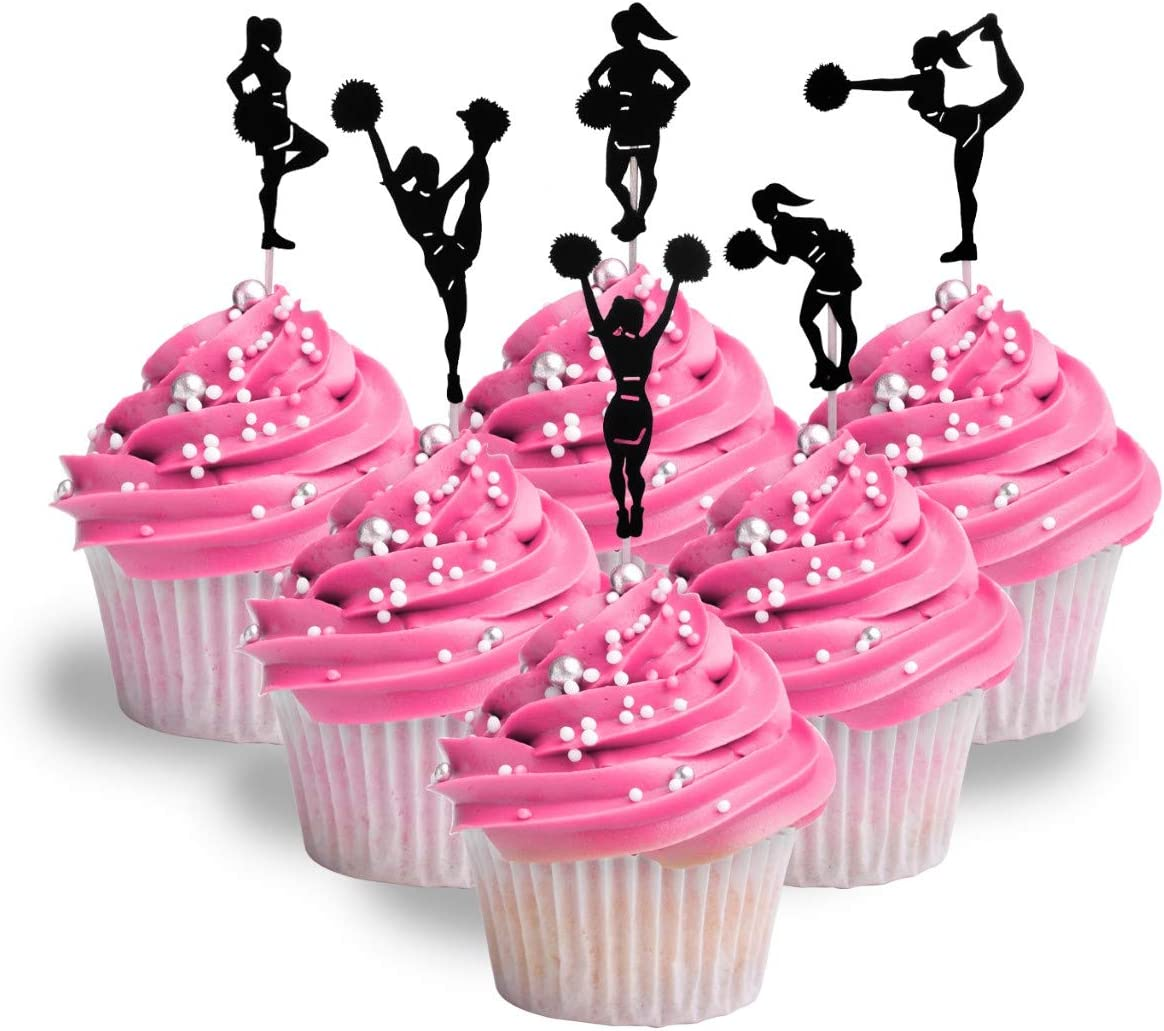 Cheer Girl Birthday cupcake toppers Cheerleader themed Cupcake toppers LOT of 12