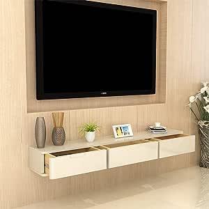 Mueble TV de pared Madera maciza Estante de la pared Estante flotante Set top box Router de wifi foto juguete Reproductor de DVD Teléfono fijo estante de almacenamiento Consola de TV Con