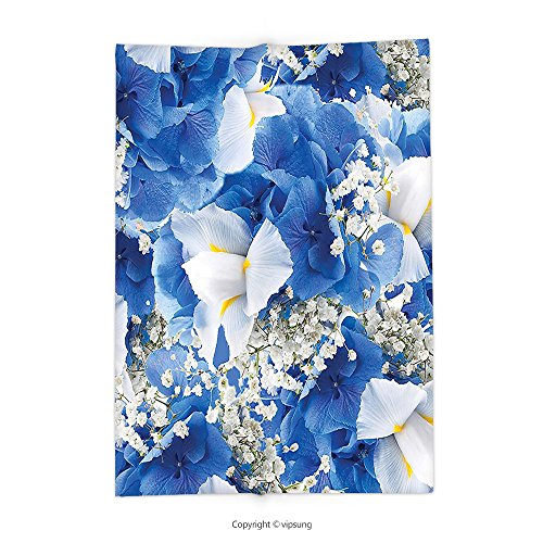 Custom printed Throw Blanket with Floral Decor Flower Bouquet with Hydrangeas and Irises Blossoms Buds Spring Summer Design Blue White Super soft and Cozy Fleece Blanket (Cookie Bouquet Boston)