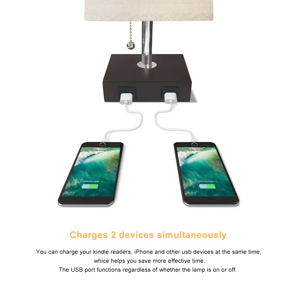 Ambient Light and 2 Useful USB Charging Port Perfect for Bedroom or Office Aooshine Modern Desk Lamp Bedside Table Lamp USB Solid Wood Nightstand Lamp with Unique Shade and Havana Brown Wood Base