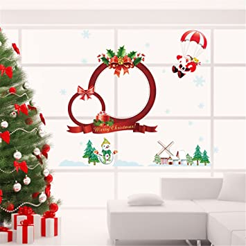 christmas decorations snowman santa claus merry christmas window decorations wreath wall kids gift sticker decor decal - Christmas Window Decorations Amazon