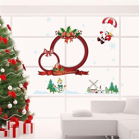 christmas decorations snowman santa claus merry christmas window decorations wreath wall kids gift sticker decor decal - Merry Christmas Window Decorations