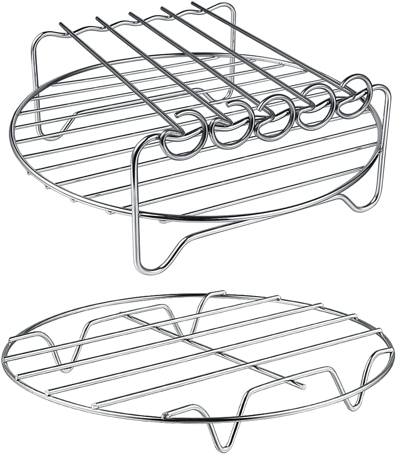 HSimple Air Fryer Rack XL Air Fryer Accessories Set Of 2, Multi-purpose Double Layer Rack with Skewer, Stackable Metal Holder, Compatible with Instant Pot XL Air Fryer Philips Ninjia Cosori Cozyna Gowise 5.3-5.8QT