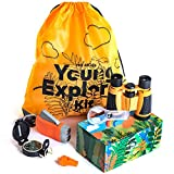 Outdoor Educational Kids Toys: Binoculars, Compass, Magnifying Glass & Flashlight. This Explorer Hiking & Camping Games Kit is a Great for Backyard Playing, Exploring Nature & Adventure for Kids