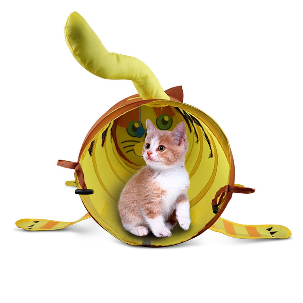 Midsummer Pet Tent Folding Cute Cat/dog Shaped Tunnel Pet Indoor/Outdoor House Toy Collapsible Cats Dogs and Other Small House Animals by