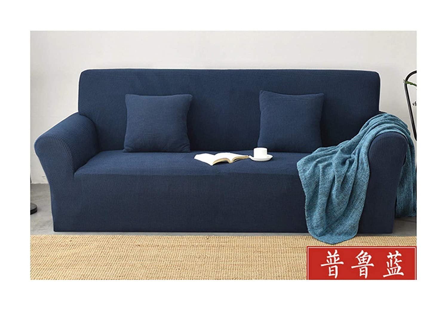 4seat VGUYFUYH bluee Knitted Lazy Sofa Cover Polyester Full Package Elastic SlipProof Home Universal Sofa Cover Simple Fashion One Set Durable DustProof Pet Dog Predective Cover,4Seat
