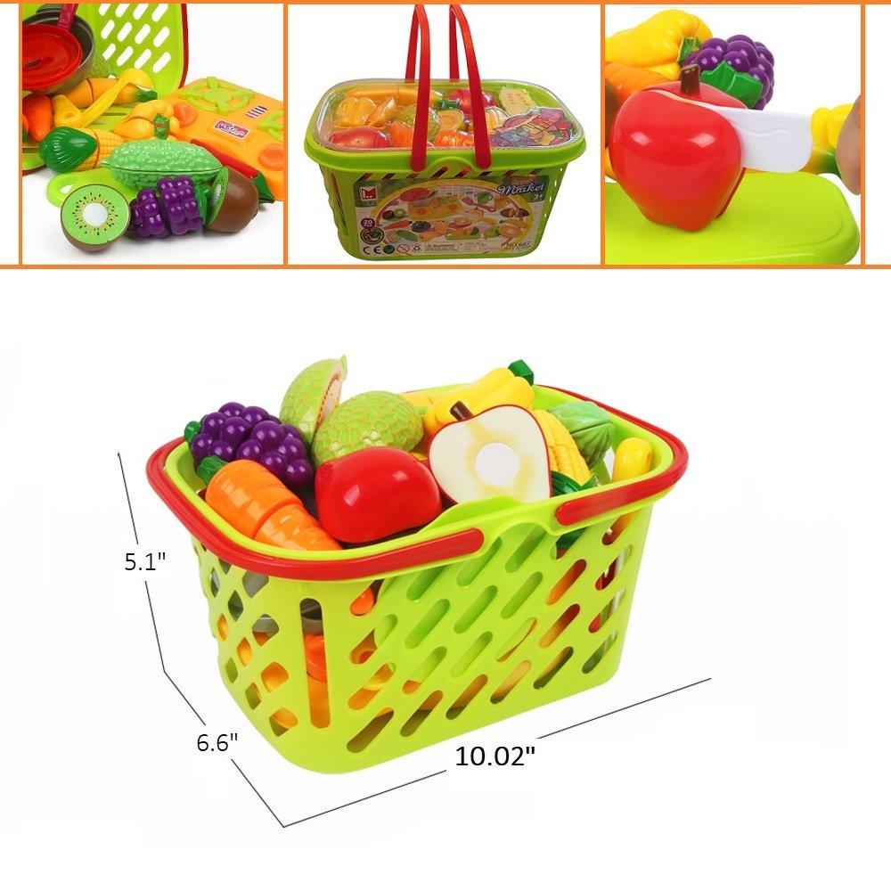 Amazon.com: Juego de cortar verduras y frutas con juguetes ...