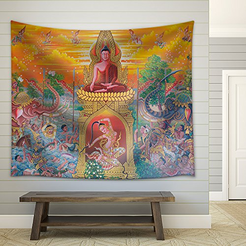 wall26 - Art Thai, Mural Mythology Buddhist Religion on Wall in Wat Neramit Vipasama, Dansai, Loei, Thailand - Fabric Wall Tapestry Home Decor - 51x60 inches by wall26