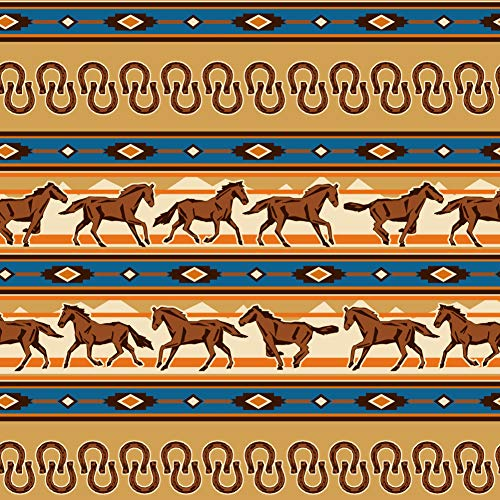 GRAPHICS & MORE Southwest Running Horses and Horseshoes Premium Roll Gift Wrap Wrapping Paper