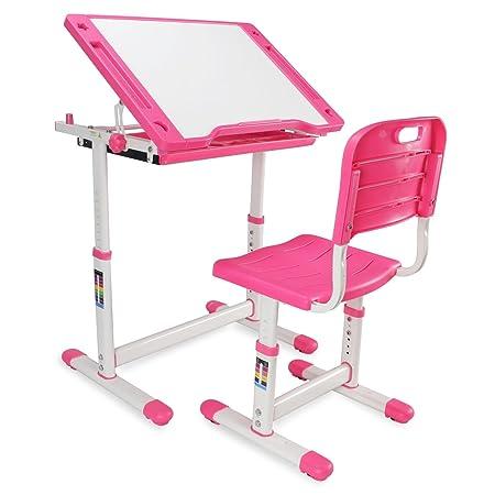 Kidzone Adjustable Children s Desk Chair Set Kids Study Table Set Tiltable Desktop Height Work Station w Pull Out Drawer, Pink