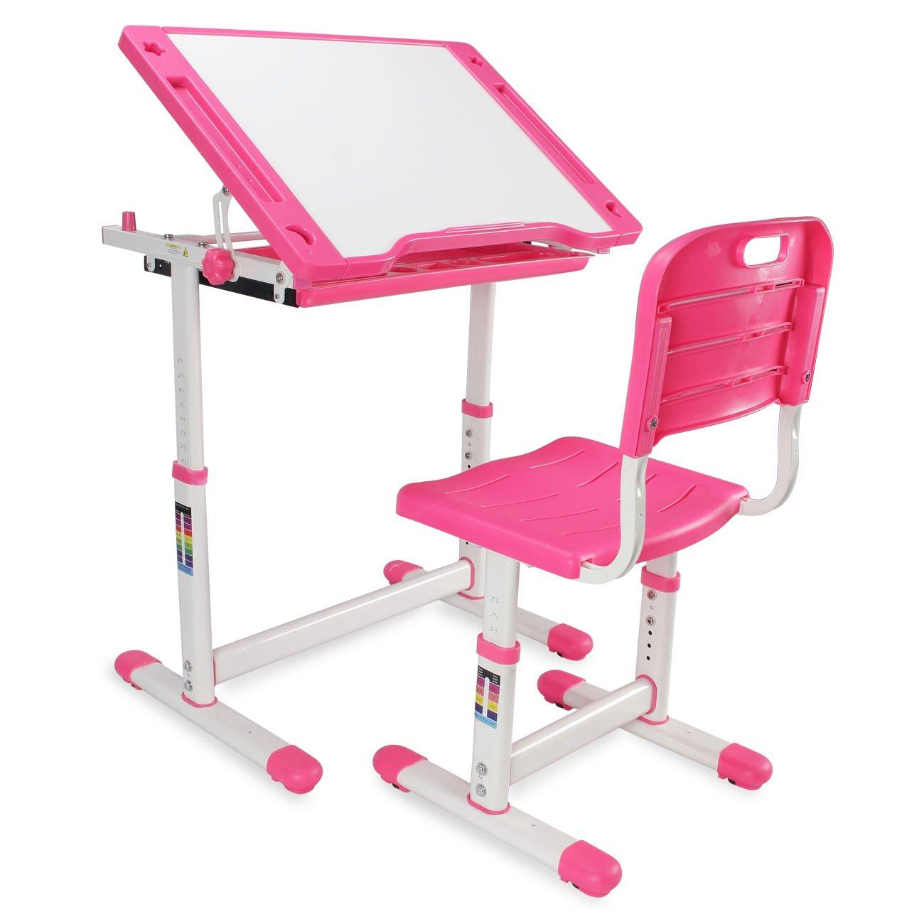 Kidzone Adjustable Children's Desk & Chair Set Kids Study Table Set Tiltable Desktop Height Work Station w/ Pull Out Drawer, Pink