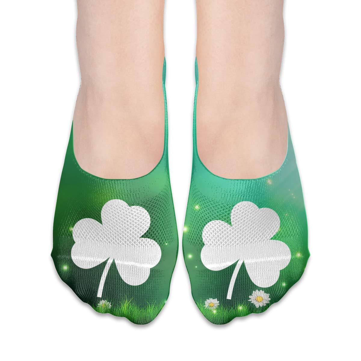 Irish Distressed Shamrocks Womens Fashion Non Slip Flat Boat Line Socks