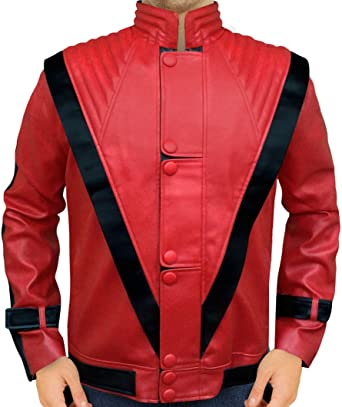 MJ Red Thriller Real Sheep Leather Jacket XXS-3XL