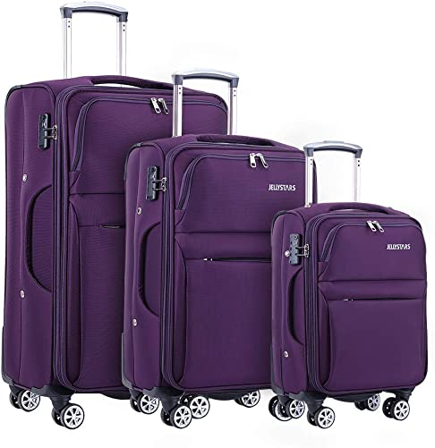JELLYSTARS Updated Softside 3 Piece Suitcase with Wheels Buit-In TSA Lock 4 Mute Double-wheels 360 Degrees Rolling Spinner Luggage Sets for Women Men 20 24 28 inch Purple Color