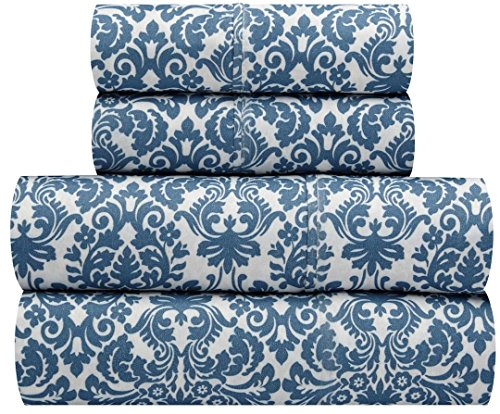 Polyester Georgette - Waverly Traditions Georgette Blue Damask 3-Pc. Bed Sheet Set, Twin