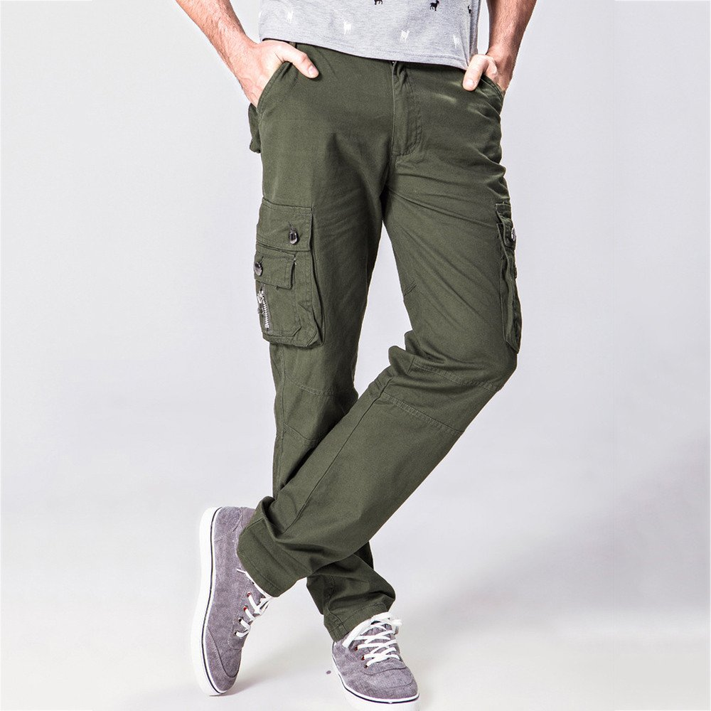Colmkley Mens Outdoor Cargo Work Pants Tactical Casual Combat Military Trousers Army Green