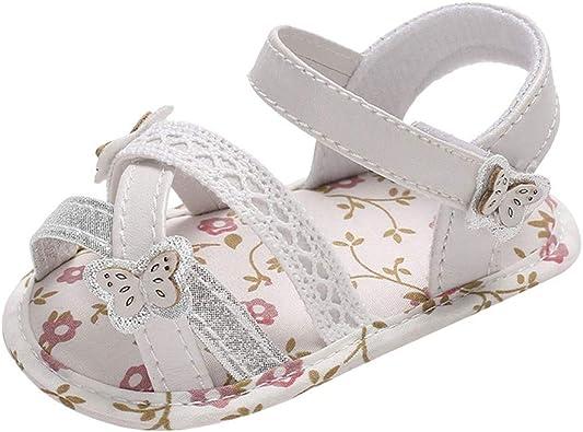 BBmoda Sandalias Bebe Niña Verano Zapatos con Suela Blanda paño Primeros Pasos para Recién Nacido 0-18 Meses Princesa: Amazon.es: Zapatos y complementos