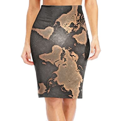 Amazon Com Woaidy Grunge World Map Women S Fashion Printed Pencil