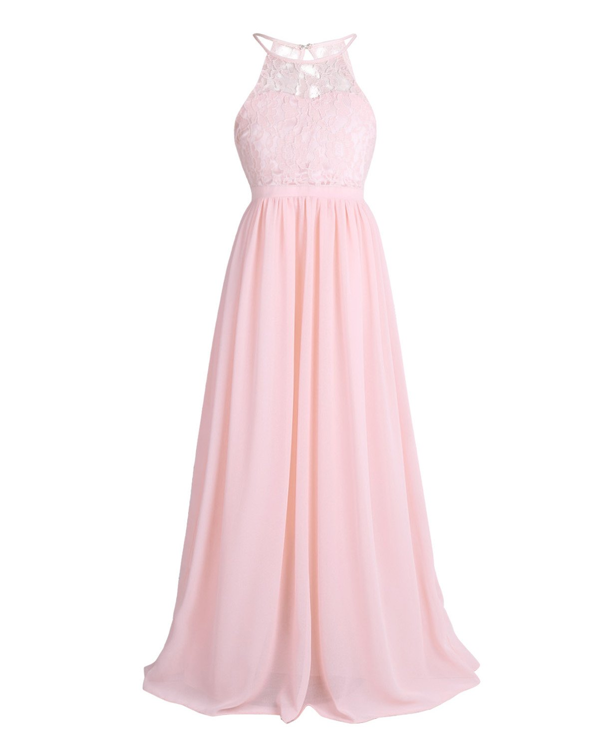 CHICTRY Kids Girls Halter Neck Chiffon Long Party Junior Wedding Evening Prom Maxi Gown Dress Pearl Pink 12