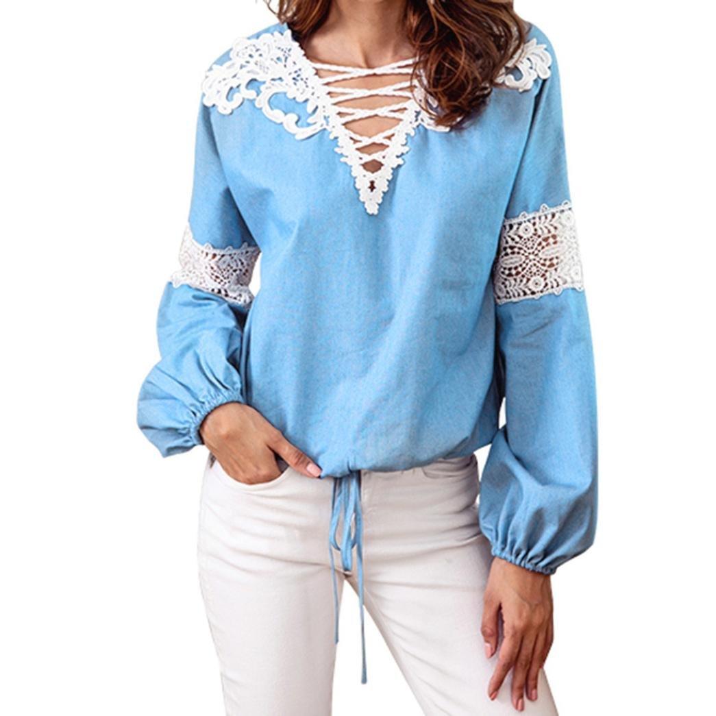 Creazrise Womens V-Neck Lantern Long Sleeve Tops Lace Crochet Casual Bandage Blouse Shirt (Blue,XL) (Blue, S)