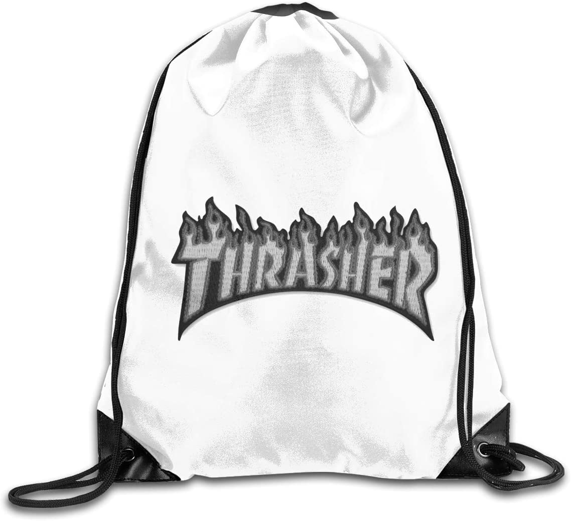 Thrasher Flame Drawstring Bags Eat Sleep Dance Repeat Beam Mouth Backpack Basketball Tennis Gympack
