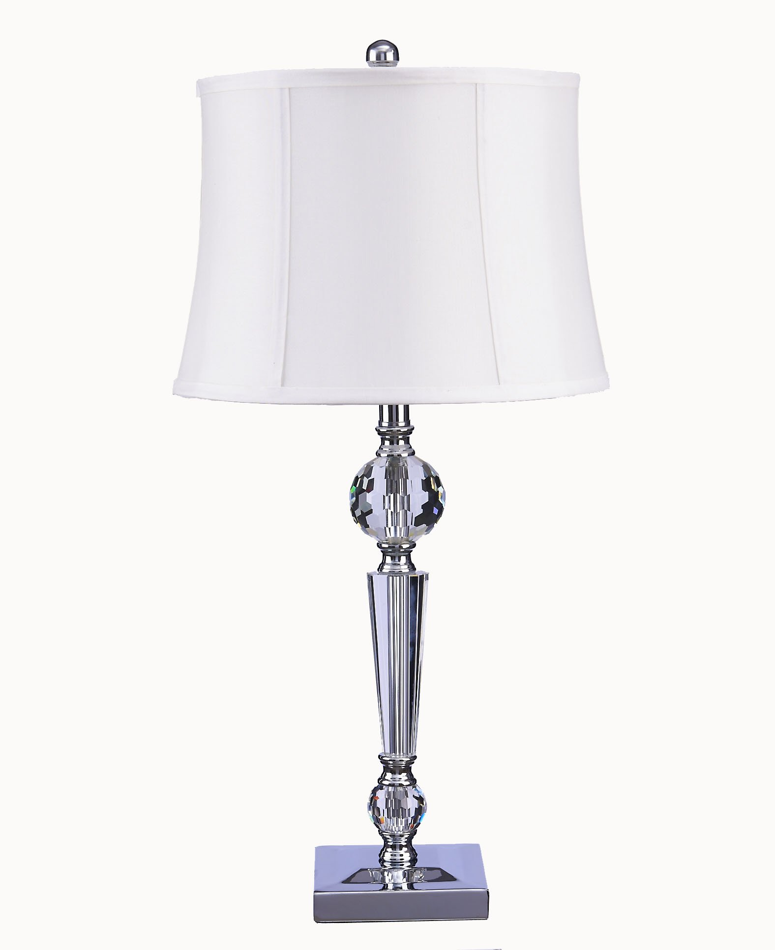 Catalina 20417-001 Camille 3-Way 28-Inch Faceted Crystal Clear Glass Table Lamp with Off White faix Silk Bell Shade, Bulb Included