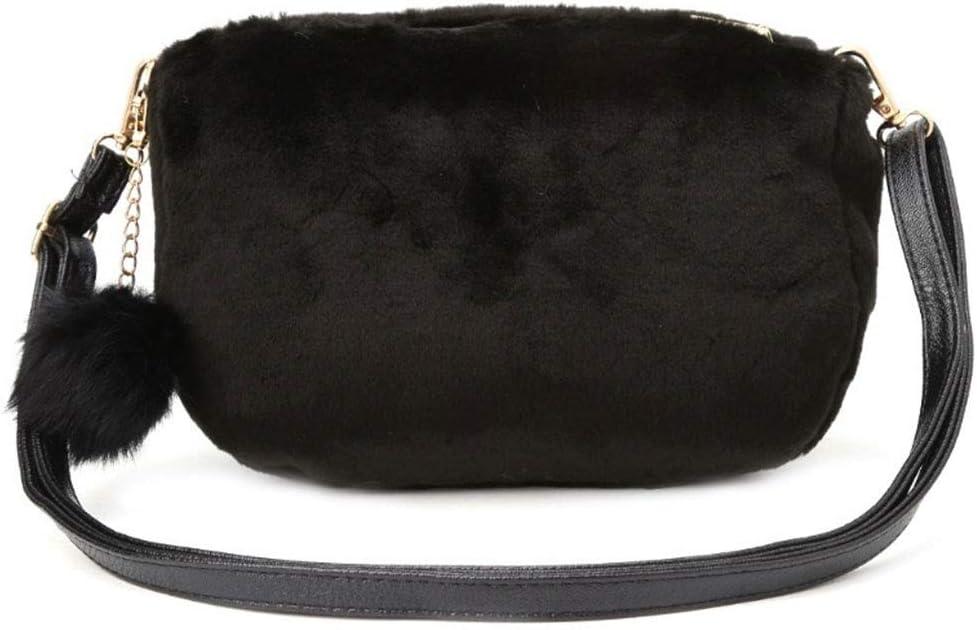 Kofun Women Faux Fur Shoulder Bag Handbag Crossbody Tote Hobo Bags Purse Black